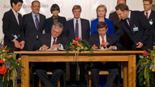 Подписание соглашений между Арменией и Турцией в Цюрихе 10 октября 2009 г.