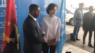 O chefe de Estado, João Lourenço, a ser recebido pela diretora-geral da UNESCO, Audrey Azoulay.