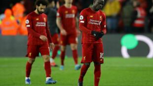 Les Reds, Mané et Salah, battus pour la première fois de la saison en championnat sur la pelouse de Watford, le 29 février 2020.