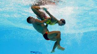 Nage synchronisée au 17e championnat du monde de natation à Budapest en Hongrie, le 21 juillet 2017.