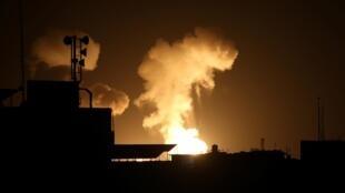 Une frappes israélienne dans le sud de la bande de Gaza le 23 février 2020.