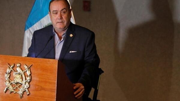 Alejandro Giammattei, o novo presidente da Guatemala, numa entrevista coletiva, em 13 de janeiro de 2020.