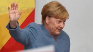 Angela Merkel au siège de la CDU, à Berlin, le 24 septembre 2017, après son discours sur le résultat des élections.