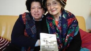 """Maria Luísa Fernandes (à esquerda) uma das 8 heroínas do livro de Martine Blanchard (à direita), """"Celles qui partent pour une terre lointaine""""."""