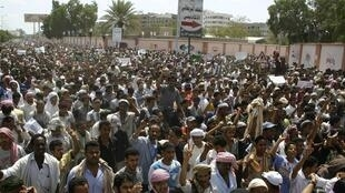 An anti-government demonstration in Aden, 25 February 2011