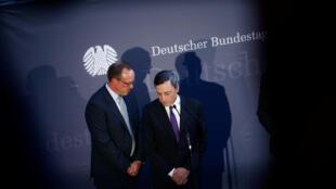 Mario Draghi ce 28 septembre 2016 à Berlin, où il a défendu sa politique monétaire particulièrement critiquée en Allemagne.