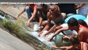 Habitantes de Caracas recogen agua de fuentes contaminadas, luego de 5 días de suspensión del servicio por la falla de energía eléctrica, masiva y continua. 11 de marzo de 2019.