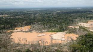 Une vue d'une partie de la forêt amazonienne touchée par la déforestation dans le sud-est du Pérou.