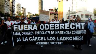 Manifestación contra Odebrecht en ciudad de Panamá, el 25 de enero de 2017.