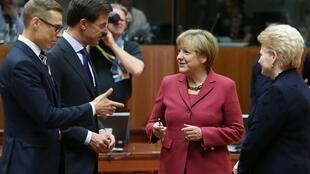 Leaders of Finland (Prime minister Alexander Stubb), Netherlands (Prime Minister Mark Rutte), Germany (Chancellor Angela Merkel) and Lithuania (President Dalia Grybauskaite) at the summit in Brussels