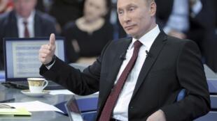 Russian Prime Minister Vladimir Putin during his TV show