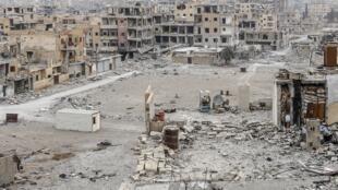 A residential neighbourhood in Raqqa, Syria