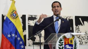 O presidente auto-proclamado da Venezuela, Juan Guaidó, em Caracas, em 28 de agosto de 2019.
