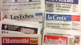 Capas dos diários franceses do dia 21 de Janeiro de 2013