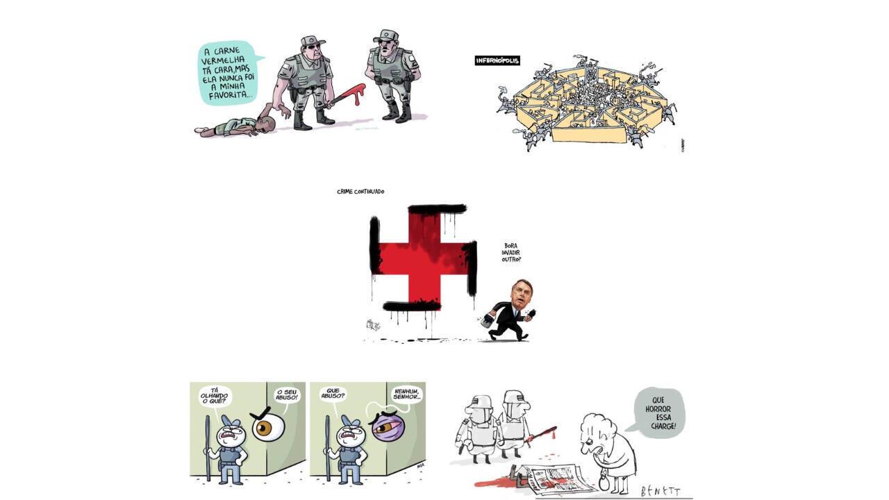 """A associação internacional Cartooning for Peace, que defende a liberdade de expressão de cartunistas do mundo inteiro, denunciou nesta quarta-feira (17) as """"intimidações"""" que atingem cinco profissionais brasileiros: Renato Aroeira, Laerte, Montanaro, Alberto Benett e Claudio Mor."""