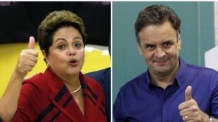 Dilma Rousseff (trái) và Aecio Neves, hai ứng cử viên tổng thống Brazil.