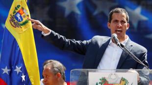 O autoproclamado presidente interino da Venezuela, Juan Guaidó durante manifestação em Caracas