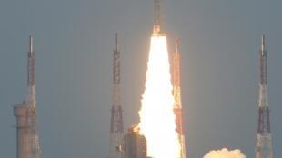 Lançamento de foguetão indiano a 22 de Julho de 2019 em Srinharikota.