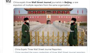 la Chineannonce l'expulsion de 3 journalistes du Wall Street Journa apres un titre controversé19022020
