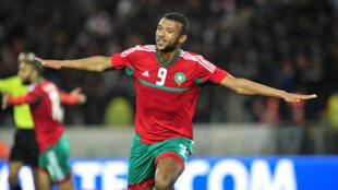 L'attaquant du Wydad Ayoub El Kaabi, ici avec le Maroc lors du CHAN 2018.