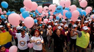 Partidarios del No en Bogota, 29 de septiembre de 2016.