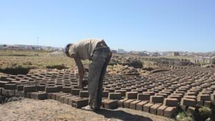 A Madagascar, de mai à octobre les rizières se transforment en briqueteries artisanales. Ici à Alasora, dans le sud d'Antananarivo.