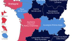 Bầu cử cấp vùng 2015 vòng một, ngày 06/12/2015 : đảng cực hữu FN về đầu tại 6 vùng. Màu xanh thẫm là các vùng FN dẫn đầu
