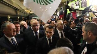 Le président français Emmanuel Macron au Salon de l'agriculture à Paris, le 22 février 2020.