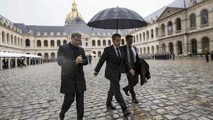 Former French president Nicolas Sarkozy leaves after attending a ceremony to pay respects to the Harkis, at the Hotel des Invalides in Paris, France, September 25, 2016