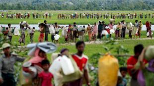 Les mines, un des fléaux de l'exode des Rohingyas, le 19 octobre 2017.