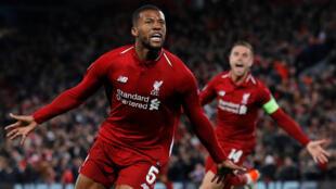 Georginio Wijnaldum celebra o terceiro gol do Liverpool contra o Barcelone na noite desta terça-feira, 7 de maio de 2019.