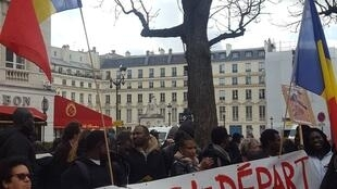 Chadian diaspora protest in Paris over French air strikes in Chad, 7 March 2019