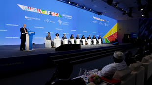 Russian President Putin delivers a speech at the Russia–Africa Summit in Sochi