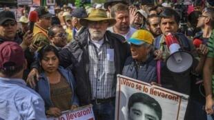 Le poète mexicain et activiste, Javier Sicilia, lors de la marche pour la paix, à Mexico, le 26 janvier 2020.
