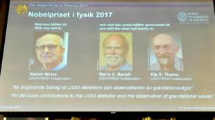 Rainer Weiss, Barry Barish e Kip Thorne são os vencedores do prêmio Nobel de Física 2017.