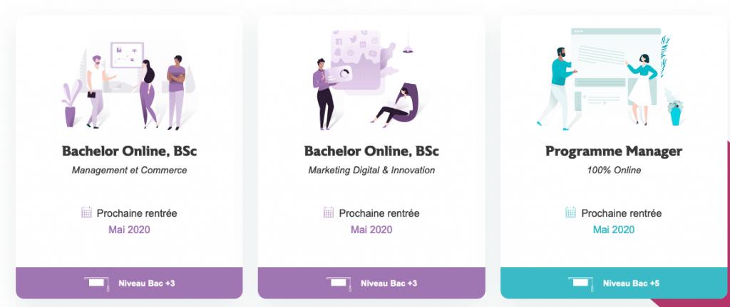 Algunos de los cursos en línea propuestos por EDHEC Online.