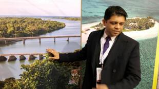 Haut représentant des îles Fidji, Aiyaz Sayed-Khaiyum, illustre la menace qui pèse sur son archipel, à la COP 23 de Bonn, le 13 novembre 2017, à Berlin.