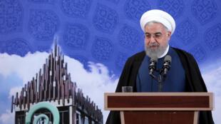 Tổng thống Iran Hassan Rohani thông báo một bước mới trong hoạt động hạt nhân. Ảnh tại Teheran ngày 05/11/2019.