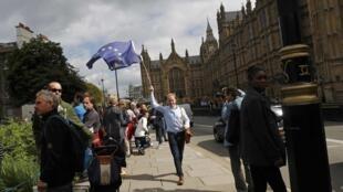 Một người dân Anh mang cờ của Liên Hiệp Châu Âu (Ảnh chụp hôm 24/06/2016)