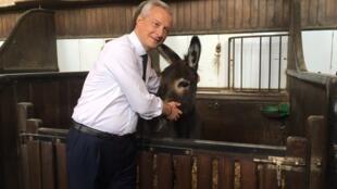 Bruno Le Maire caresse un âne au manège de Chantilly, où se tient le G7 Finances.