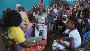 Moiyattu Banya Founder of Girls Empowerment Summit Sierra Leone leads her workshop on feminism and sisterhood, Annual Summit, 2015