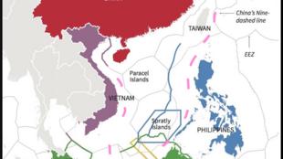 Tham vọng chủ quyền trên gần trọn Biển Đông của Trung Quốc, với yêu sách đường 9 vạch (còn gọi là ''lưỡi bò''), bị Tòa Án Trọng Tài Thường Trực, La Haye, bác bỏ ngày 12/07/2016.