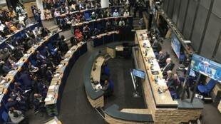 Dans la salle du Conseil paix et sécurité de l'Union africaine, à Addis-Abeba, le 8 février 2020.