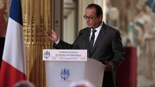 French President Francois Hollande speaking at  the Elysee Palace in Paris, 7 September 2015.