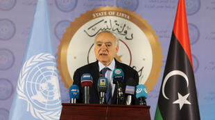 The UN Envoy for Libya, Ghassan Salame, speaks during a news conference in Tripoli, Libya April 6, 2019.