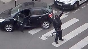 The gunmen after the attack on satirical weekly Charlie Hebdo