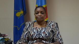 Eve Bazaiba, katibu mkuu wa chama cha MLC kinachoongozwa naye Jean-Pierre Bemba.