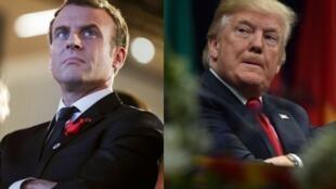 Tổng thống Pháp Emmanuel Macron và tổng thống Mỹ Donald Trump.