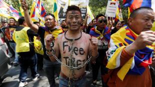 藏人在印度馬德里遊行紀念310事件60周年,2019年3月10日