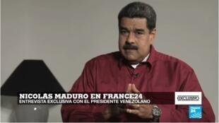 O presidente de Venezuela, Nicolás Maduro, durante entrevista para o canal de televisão France 24.
